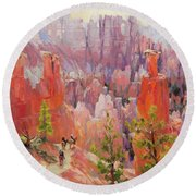 Descent Into Bryce Round Beach Towel
