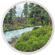 Deschutes River And Falls Round Beach Towel by Nancy Marie Ricketts