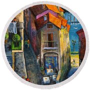 Round Beach Towel featuring the painting Desenzano Del Garda by Mikhail Zarovny