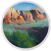 Desert Afternoon Mountains Sky And Trees Round Beach Towel