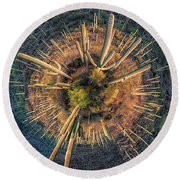 Round Beach Towel featuring the photograph Desert Big Bang by Lynn Geoffroy