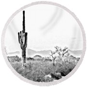 Desert Cactus Round Beach Towel