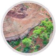 desert canyon in Utah aerial view Round Beach Towel
