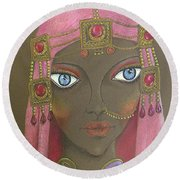 Desert Diva -- Whimsical Arabic Woman Round Beach Towel