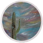 Round Beach Towel featuring the painting Desert Dust by Judith Rhue