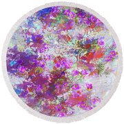 Round Beach Towel featuring the painting Desert Flowers Abstract 3 by Penny Lisowski