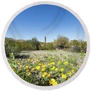 Desert Flowers And Cactus Round Beach Towel