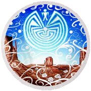 Round Beach Towel featuring the painting Desert Hallucinogens by Michelle Dallocchio