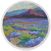 Round Beach Towel featuring the painting Desert In Bloom by Diane McClary