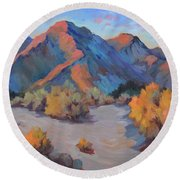 Round Beach Towel featuring the painting Desert Light by Diane McClary