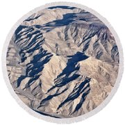 Desert Mountain Road Round Beach Towel by Linda Phelps