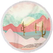 Desert Mountains Round Beach Towel