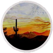Desert Mustangs Round Beach Towel