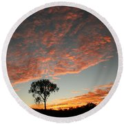 Round Beach Towel featuring the photograph Desert Oak Tree Silhouetted At Sunrise by Keiran Lusk