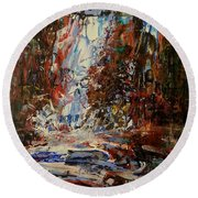 Round Beach Towel featuring the painting Desert Oasis Waterfall by Reed Novotny