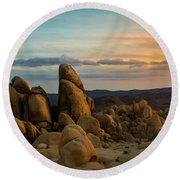 Desert Rocks Round Beach Towel by Ed Clark