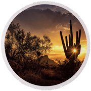 Round Beach Towel featuring the photograph Desert Skylight  by Saija Lehtonen