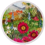 Round Beach Towel featuring the painting Desert Spring by Eric Samuelson