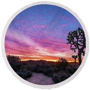 Desert Sunrise At Joshua Tree Round Beach Towel