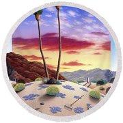 Desert Sunrise Round Beach Towel