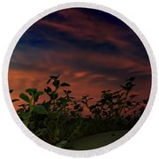 Desert Sunset Round Beach Towel by Chris Tarpening