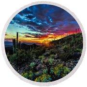 Desert Sunset Hdr 01 Round Beach Towel