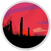 Desert Sunset In Tucson Round Beach Towel