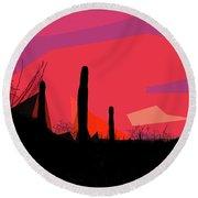 Desert Sunset In Tucson Round Beach Towel