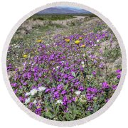 Round Beach Towel featuring the photograph Desert Super Bloom by Peter Tellone
