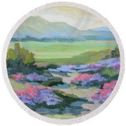 Round Beach Towel featuring the painting Desert Verbena 1 by Diane McClary