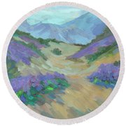 Round Beach Towel featuring the painting Desert Verbena by Diane McClary