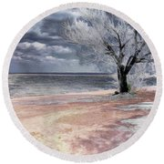 Deserted Beach Round Beach Towel by Pennie  McCracken