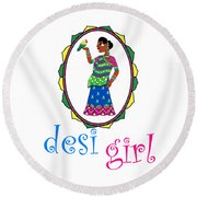 Desi Girl Round Beach Towel