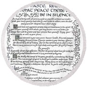 Desiderata-blue Round Beach Towel
