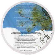 Desiderata Poem Over Sky With Clouds And Tree Branches Round Beach Towel