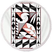 Southwest Collection - Design Four In Red Round Beach Towel