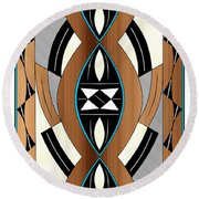 Southwest Collection - Design Two In Blue Round Beach Towel