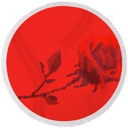 Designer Red Rose Round Beach Towel