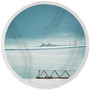 Round Beach Towel featuring the photograph Designs And Lines - Winter In Switzerland by Susanne Van Hulst