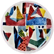 Round Beach Towel featuring the painting Designs For Pyramids by Mindy Newman