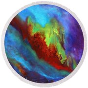 Desire A Vibrant Colorful Abstract Painting With A Glittering Center  Round Beach Towel