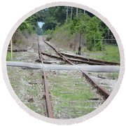 Desolate Rails Round Beach Towel