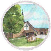 Round Beach Towel featuring the painting De Soto Baptist Church by Betsy Hackett