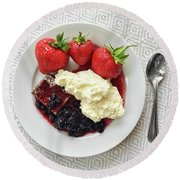Dessert With Strawberries And Whipped Cream Round Beach Towel by GoodMood Art