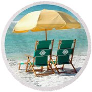 Destin Florida Beach Chairs And Yellow Umbrella Square Format Round Beach Towel by Shawn O'Brien
