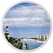 Destin Harbor  Round Beach Towel