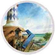 Round Beach Towel featuring the painting Destin Lighthouse by Andrew King