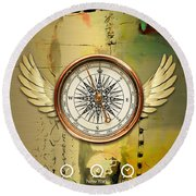Round Beach Towel featuring the mixed media Destination by Marvin Blaine