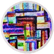 Round Beach Towel featuring the painting Destiny Road by Joan Reese