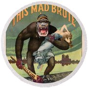 Destroy This Mad Brute - Restored Vintage Poster Round Beach Towel